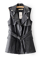 cheap -Women's Casual Leather Jacket-Solid Colored Shirt Collar