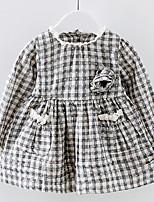 abordables -Robe Fille de Quotidien Damier Coton Eté Manches Longues simple Noir