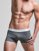 cheap -men's normal micro-elastic solid boxers underwear medium cotton 1pc gray red white blue