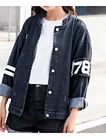 cheap -Women's Cotton Denim Jacket - Solid Colored Geometric Stand