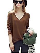 abordables -Tee-shirt Femme, Couleur Pleine Business Basique Manche Chauve-souris Col en V Ample