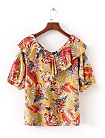 cheap -Women's Street chic Blouse - Floral V Neck