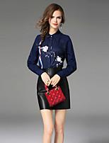 Недорогие -Жен. С принтом Рубашка, Рубашечный воротник Однотонный Геометрический принт