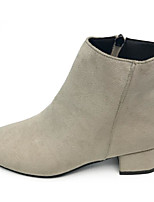 cheap -Women's Shoes PU Fall Winter Bootie Comfort Boots Chunky Heel Booties/Ankle Boots for Casual Black Beige Khaki