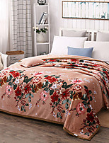 cheap -Coral fleece, Quilted Floral Cotton/Polyester Polyester Blankets