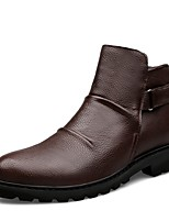 cheap -Men's Shoes Cowhide Nappa Leather Spring Fall Bootie Fashion Boots Boots for Casual Office & Career Black Dark Brown