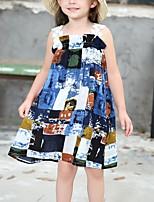 Недорогие -Девичий Платье Повседневные Хлопок С принтом Весна Лето Без рукавов Богемный Цвет радуги
