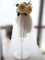 abordables -Deux couches A Perles euroaméricains Voiles de Mariée Voiles longueur épaule Avec Perle fausse Tulle
