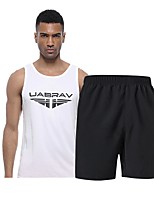 cheap -Men's Activewear Set Sleeveless Short Pant Breathability Clothing Suits for Fitness Polyester White Black Grey S M L XL XXL