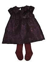 Недорогие -малыш Девочки Набор одежды Повседневные Хлопок Полоски Весна Осень Длинный рукав Простой Шинуазери (китайский стиль) Лиловый