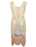 abordables -Gatsby le magnifique Rétro Gatsby Costume Femme Bandeau Garçonne Noir Doré Argent Vintage Cosplay Polyester Sans Manches