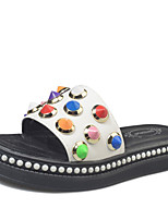 cheap -Women's Shoes PU Summer Comfort Slippers & Flip-Flops Flat Heel Round Toe Rivet for Casual White Black