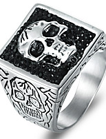 cheap -Men's Statement Ring Rhinestone Silver Steel Titanium Skull Fashion Cool Rock Bar Club Costume Jewelry