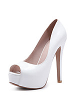 cheap -Women's Shoes PU Patent Leather Spring Summer Basic Pump Heels Stiletto Heel Peep Toe for Office & Career Party & Evening White Black