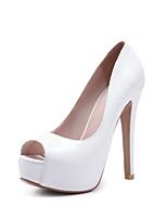 abordables -Mujer Zapatos PU Cuero Patentado Primavera Verano Pump Básico Tacones Tacón Stiletto Punta abierta para Oficina y carrera Fiesta y Noche