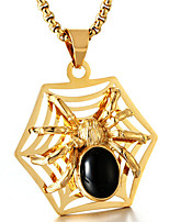 abordables -Homme Araignées Forme Décontracté Mode Cool Pendentif de collier Rubis synthétique Acier Titane Pendentif de collier Quotidien Plein Air