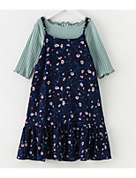 cheap -Girl's Daily Floral Dress Spring Summer 3/4 Length Sleeves Simple Navy Blue