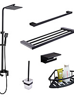 cheap -Contemporary Wall Installation Rain Shower Handshower Included Widespread Ceramic Valve Single Handle Three Holes Black, Faucet Set