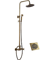 cheap -Antique Shower System Rain Shower Handshower Included Two Handles Two Holes Antique Copper, Shower Faucet