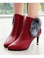 cheap -Women's Shoes PU Fall Winter Fashion Boots Comfort Boots Stiletto Heel Booties/Ankle Boots for Casual Black Burgundy