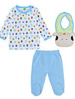 cheap -Baby Unisex Daily Polka Dot Clothing Set, Cotton Spring Fall Active Long Sleeves Light Blue