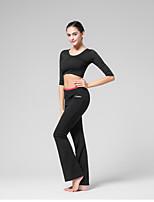 abordables -Danse latine Bas Femme Entraînement Utilisation Coton Elasthanne Motif / Impression Combinaison Sans Manches Taille moyenne Pantalon