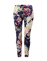 cheap -Women's Basic Sporty Legging - Print, Floral Color Block Mid Waist