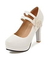 cheap -Women's Shoes Leatherette Spring Fall Basic Pump Heels Chunky Heel Round Toe for Wedding Party & Evening White Black Beige Pink