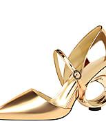 baratos -Mulheres Sapatos Courino Primavera Outono Conforto Saltos Salto Agulha Dedo Fechado para Escritório e Carreira Dourado Preto Prata