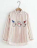 cheap -Women's Holiday Street chic Cotton Shirt - Striped Animal, Print Shirt Collar