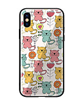 cheap -Case For Apple iPhone X iPhone 8 Pattern Back Cover Cat Flower Hard Tempered Glass for iPhone X iPhone 8 Plus iPhone 8 iPhone 7 iPhone 6s