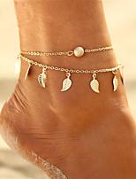cheap -Bohemian Multi Layer Bikini Leaf , Anklet - Women's Gold Silver Bohemian Multi Layer Bikini Circle Leaf Alloy Anklet For Gift Evening