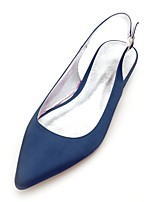 cheap -Women's Shoes Satin Spring Summer Comfort Wedding Shoes Flat Heel Pointed Toe for Wedding Party & Evening White Black Dark Blue Silver