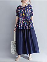 baratos -Mulheres Blusa Luva Lantern Estampado, Floral Algodão