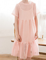 cheap -Girl's Daily Solid Dress, Cotton Summer Short Sleeves Simple White Blushing Pink