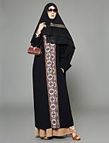 abordables -Femme Grandes Tailles Sortie Bohème Manche Gigot Ample Ample Balançoire Abaya Robe - Imprimé Mosaïque, Fleur Géométrique Couleur Pleine