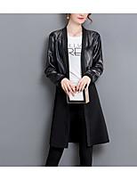 Недорогие -Жен. Кожаные куртки Винтаж-Однотонный Плиссировка