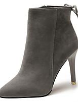 preiswerte -Damen Schuhe PU Winter Frühling Komfort Stiefel Stöckelabsatz Spitze Zehe Mittelhohe Stiefel für Normal Schwarz Grau