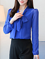 cheap -Women's Loose Blouse - Solid, Bow