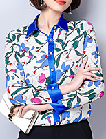 cheap -Women's Loose Shirt - Floral Shirt Collar