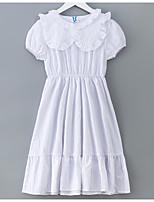 baratos -Menina de Vestido Sólido Verão Manga Curta Simples Branco Rosa
