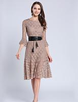 Недорогие -Жен. Классический Вспышка рукава А-силуэт Платье - Однотонный, Кружева Средней длины