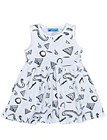 cheap -Girl's Daily Holiday Geometric Dress, Cotton Summer Sleeveless Cute White