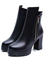baratos -Mulheres Sapatos Couro Ecológico Inverno Primavera Coturnos Conforto Botas Salto Robusto Botas Curtas / Ankle para Casual Preto