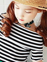cheap -Girls' Daily Striped Tee, Cotton Summer Short Sleeves Simple Active Green Black
