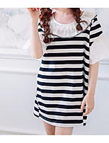 cheap -Girl's Daily Striped Dress, Cotton Summer Short Sleeves Simple Black Red