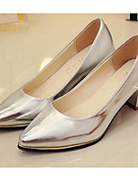 cheap -Women's Shoes PU Spring Fall Basic Pump Comfort Heels Chunky Heel for Casual Gold Silver