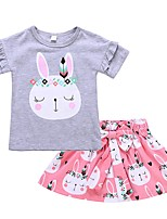 cheap -Girls' Daily Holiday Print Clothing Set, Cotton Spring Summer Short Sleeves Cute Blushing Pink