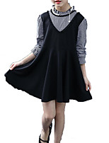 cheap -Girl's Daily Holiday Solid Colored Check Dress, Cotton Polyester Spring Fall Long Sleeves Cute Basic Black
