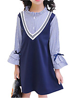 cheap -Girl's Daily Holiday Solid Colored Striped Dress, Cotton Polyester Spring Fall Long Sleeves Cute Basic Navy Blue